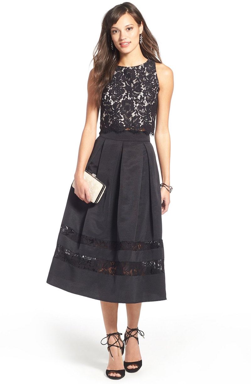 Eliza J Lace & Taffeta Ball Skirt