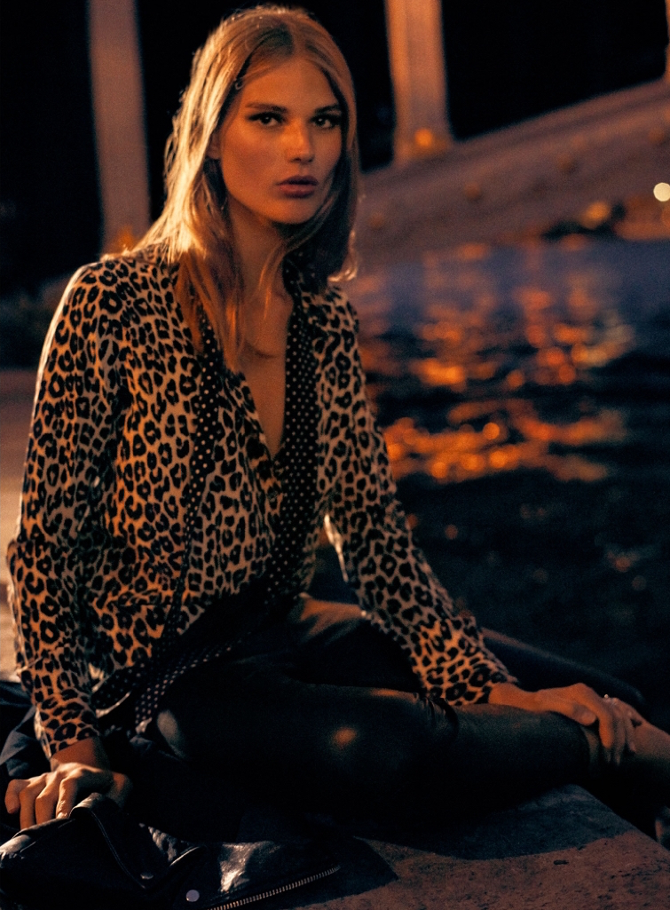 Equipment Kate Moss Slim Signature Blouse with Removable Tie