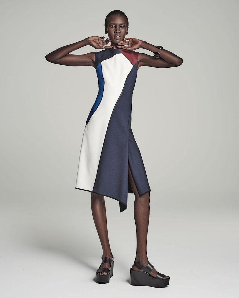 Escada Sleeveless Jewel-Neck Colorblock Dress