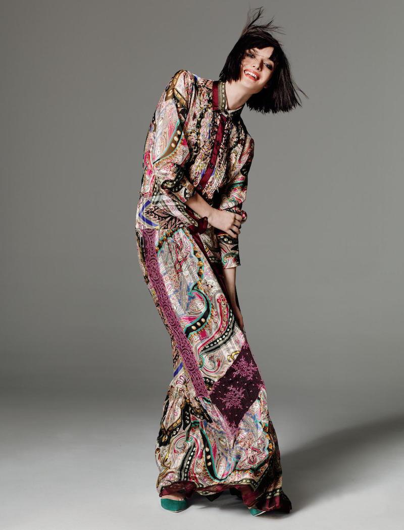 Etro Silk & Lace Maxi Skirt