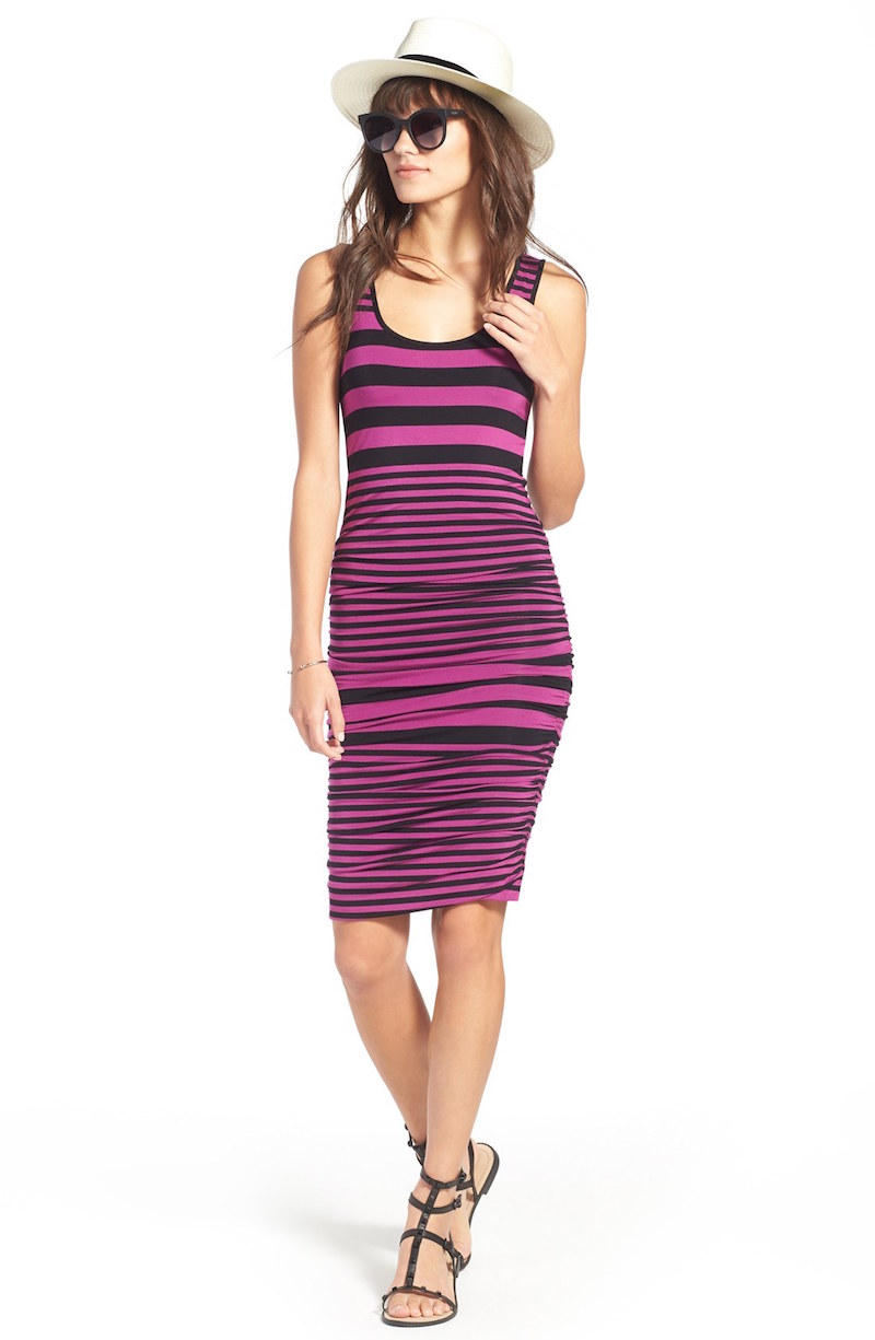 FELICITY & COCO Stripe Ruched Jersey Tank Dress