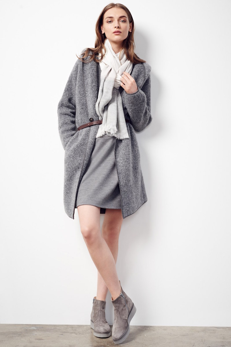 Fabiana Filippi Hooded Bouclé Coat with Leather Belt