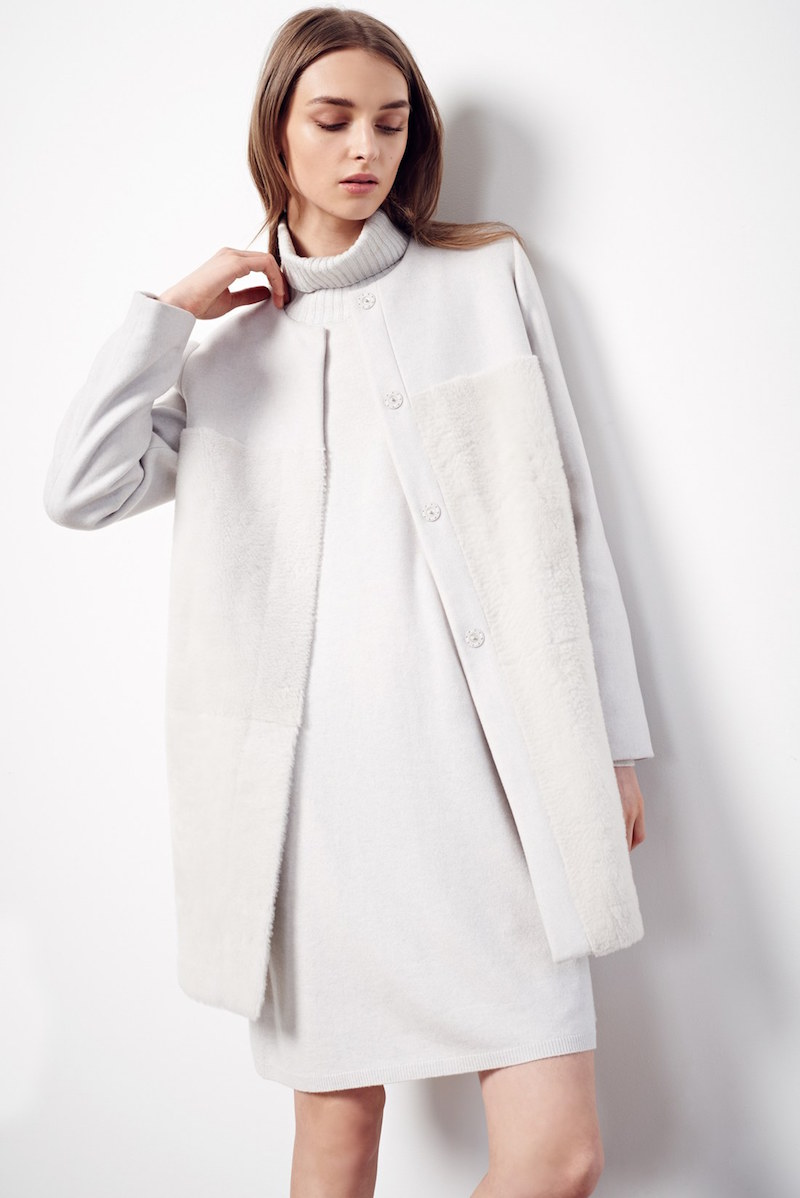 Fabiana Filippi Wool Blend Coat with Genuine Shearling Front Panels