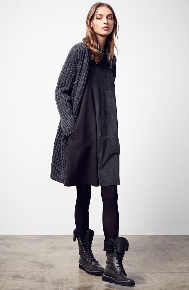Fabiana Flilippi Suede, Cashmere & Wool Trapeze Dress
