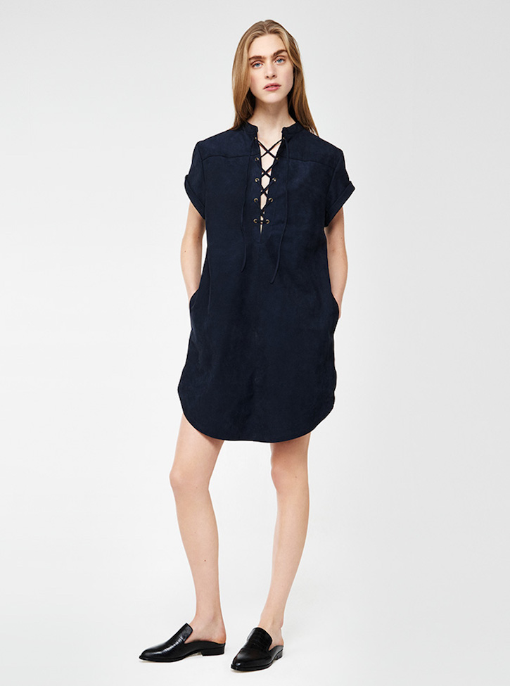 Frame Denim Le Lace Suede Dress