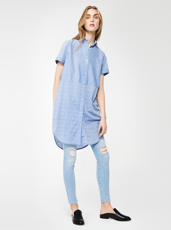Frame Denim Short-sleeved Cotton Shirtdress