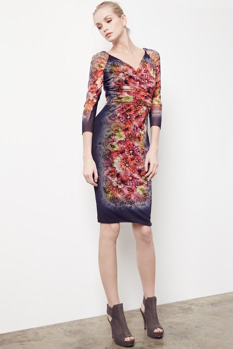 Fuzzi Tattoo Floral Print Tulle Dress