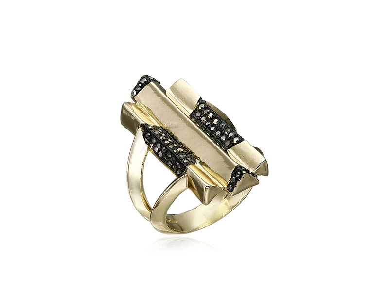 House of Harlow 1960 Defined Deco Cocktail Ring