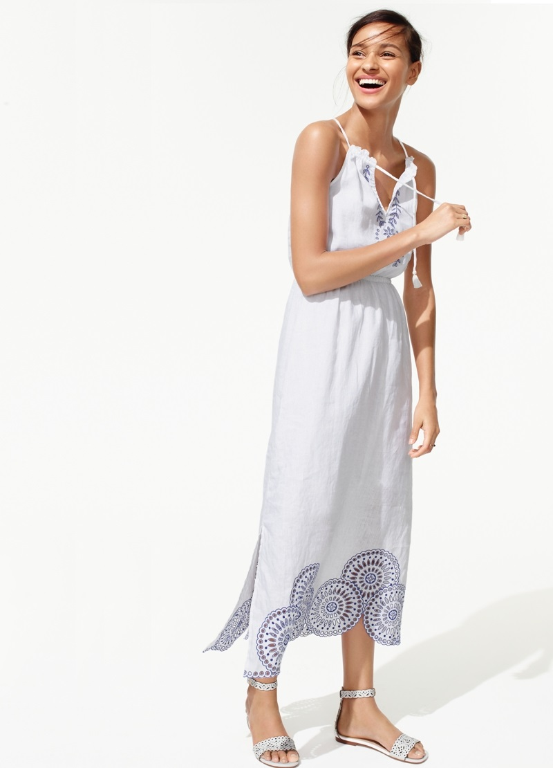 J.Crew Linen dress with eyelet detail
