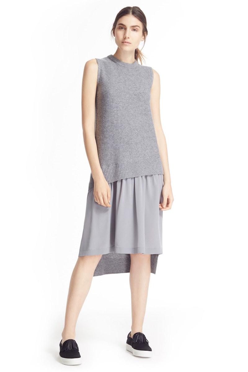 JOSEPH Iris Mixed Media Midi Sweater Dress