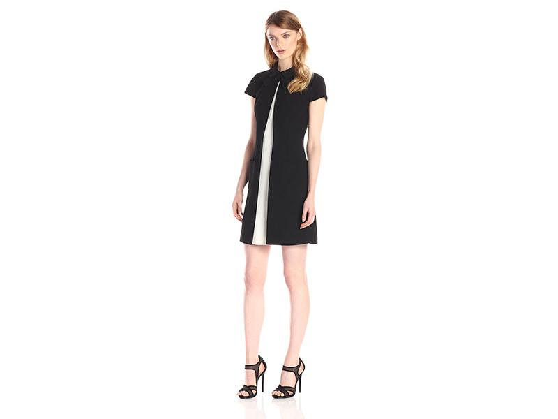 Jill Jill Stuart Collar Two-Tone Cap-Sleeve Tuxedo Dress