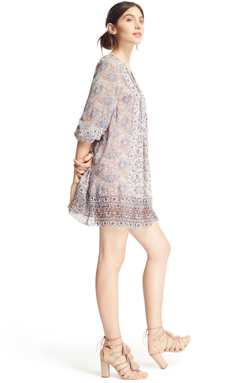 Joie Foxley Floral Print Silk Peasant Dress_1
