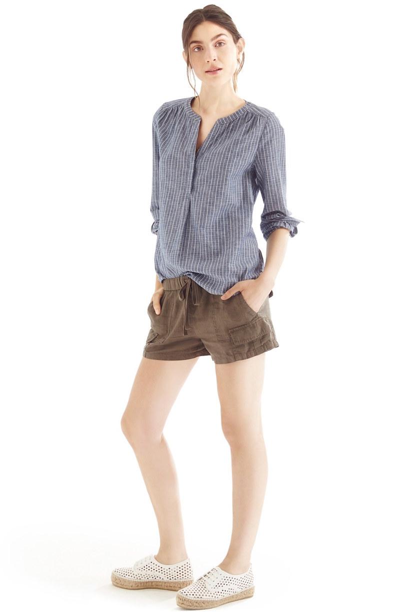 Joie Kalan Cotton Split Neck Roll Sleeve Shirt