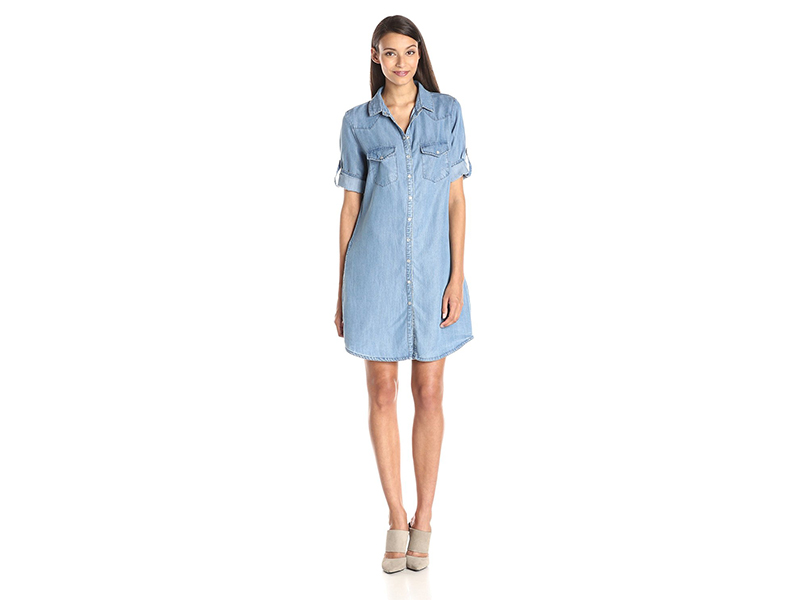 KUT from the Kloth Ruthy Button Front Chambray Dress