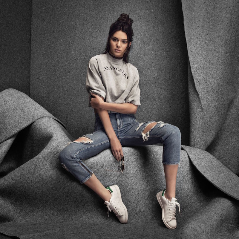 Kendall & Kylie Lake Blue Ankle Zip Ripped Girlfriend Jeans