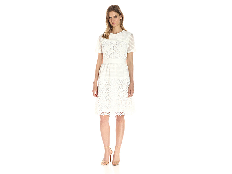 Lark & Ro Short Sleeve Mixed Lace Dress