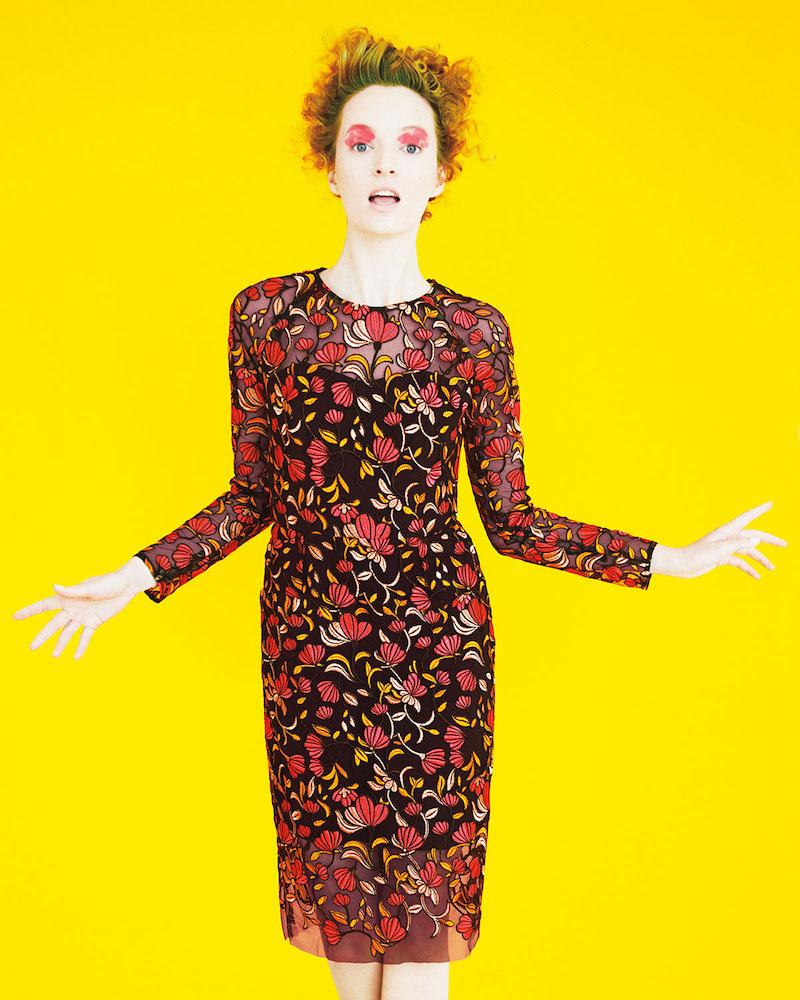 Lela Rose Long-Sleeve Embroidered Sheath Dress