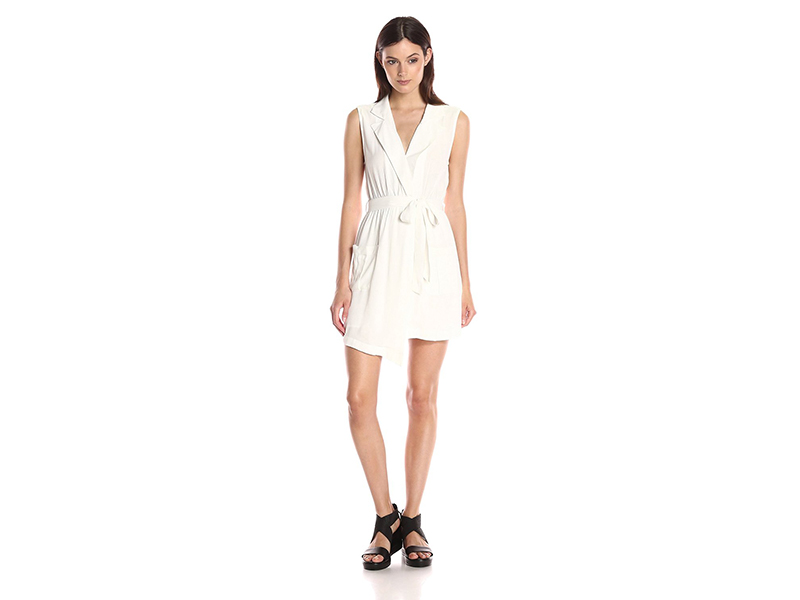 MINKPINK Little Lolita Sleeveless Faux Wrap Shirt Dress