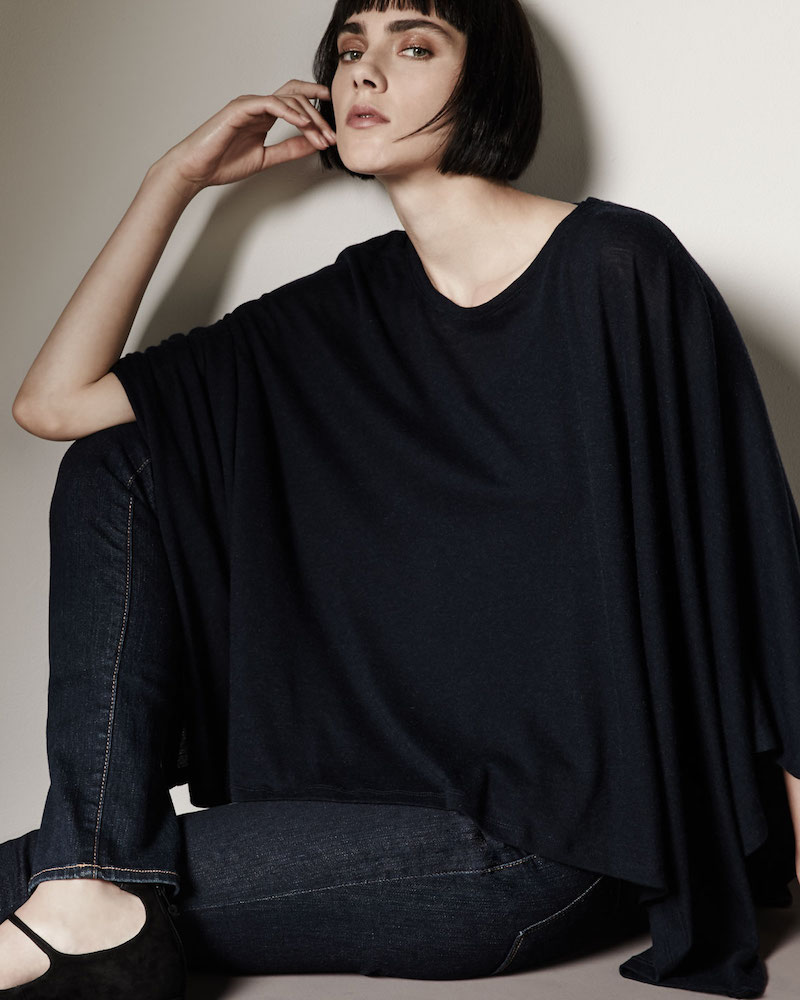 Majestic Paris for Neiman Marcus Double-Face Cotton Cashmere Knit Poncho