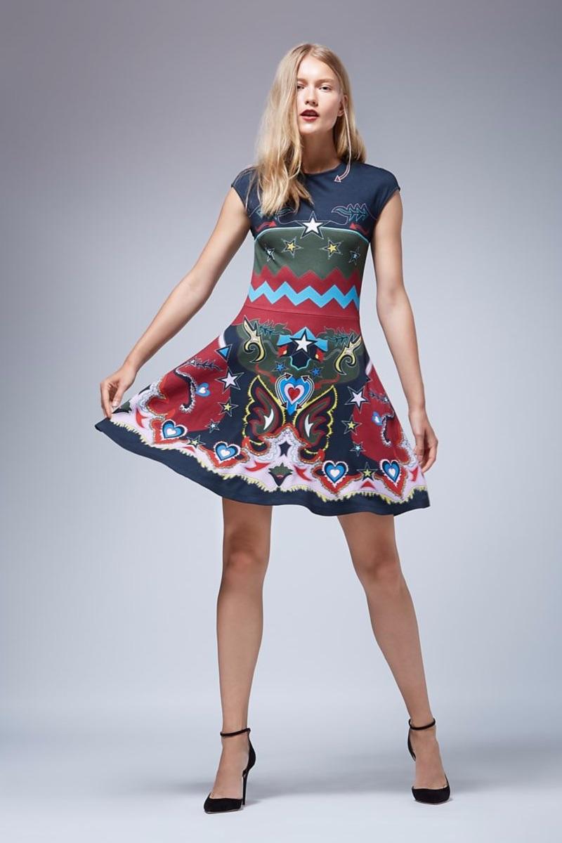 Mary Katrantzou Cap-Sleeve Printed Jersey Dress