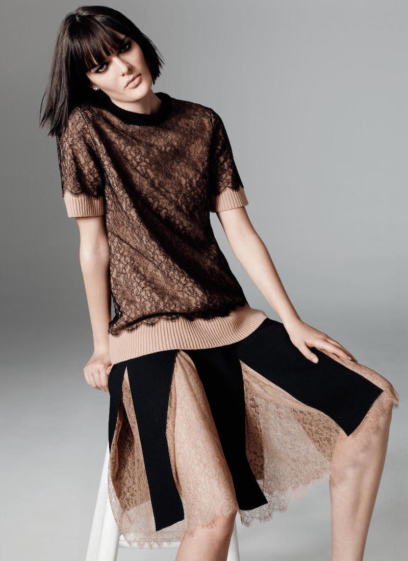 Michael Kors Collection Short-Sleeve Lace Tee
