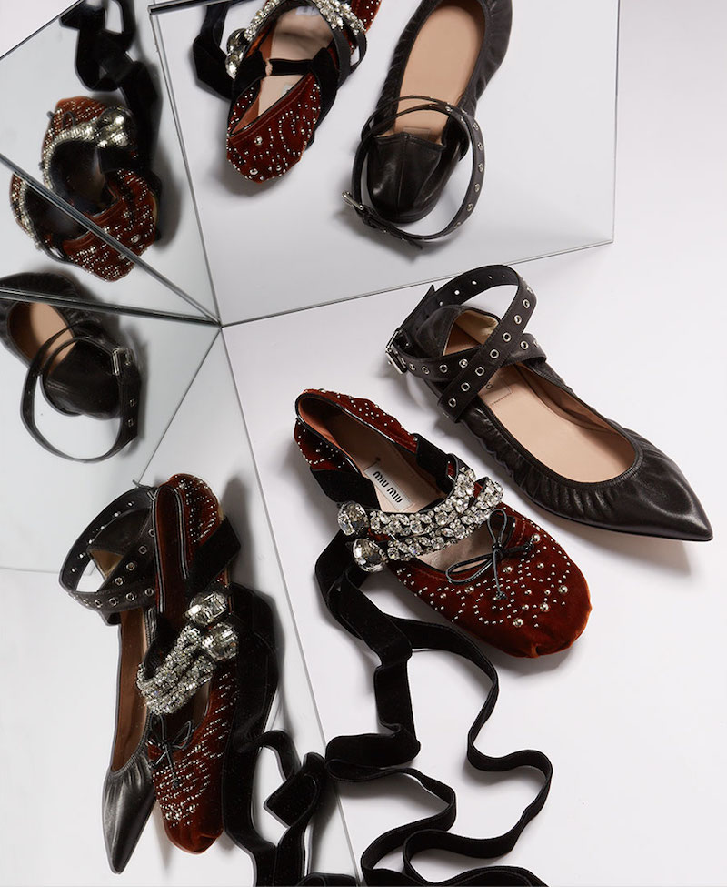 Miu Miu Velvet and Patent-leather Flats