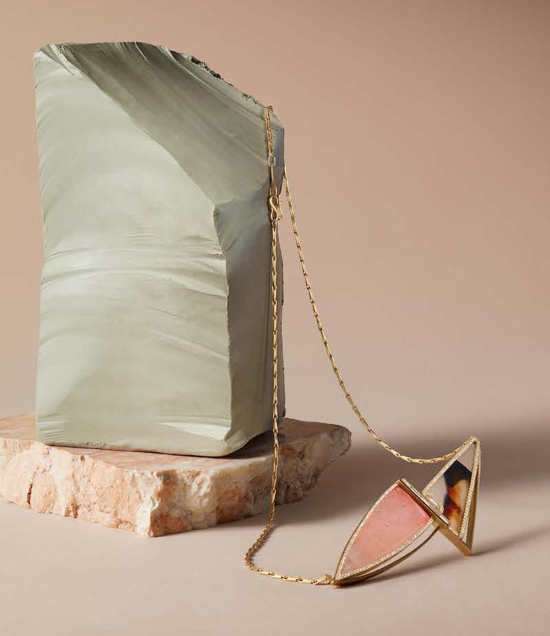 Monique Péan White Diamond, Garnet & Agate Pendant Necklace