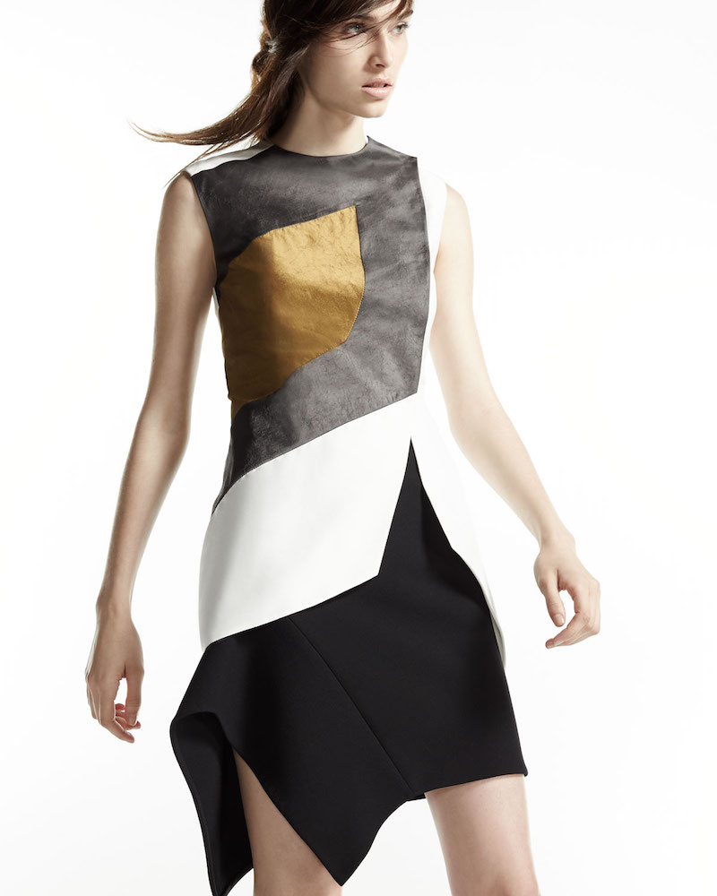 Narciso Rodriguez Sleeveless Textured Colorblock Top