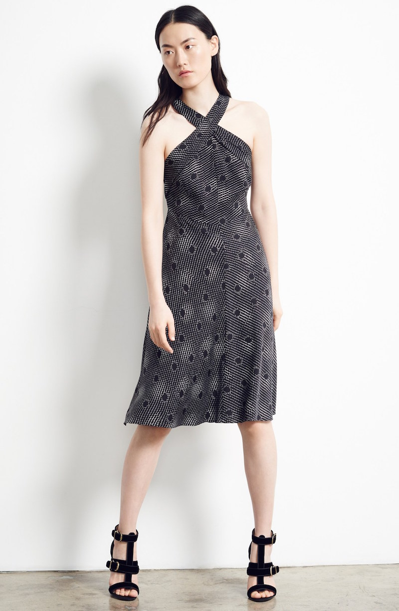 Nordstrom Signature and Caroline Issa Print Silk Twill Halter Dress