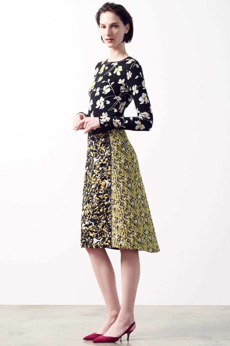 Oscar de la Renta Embellished Floral Knit Wool Blend Sweater