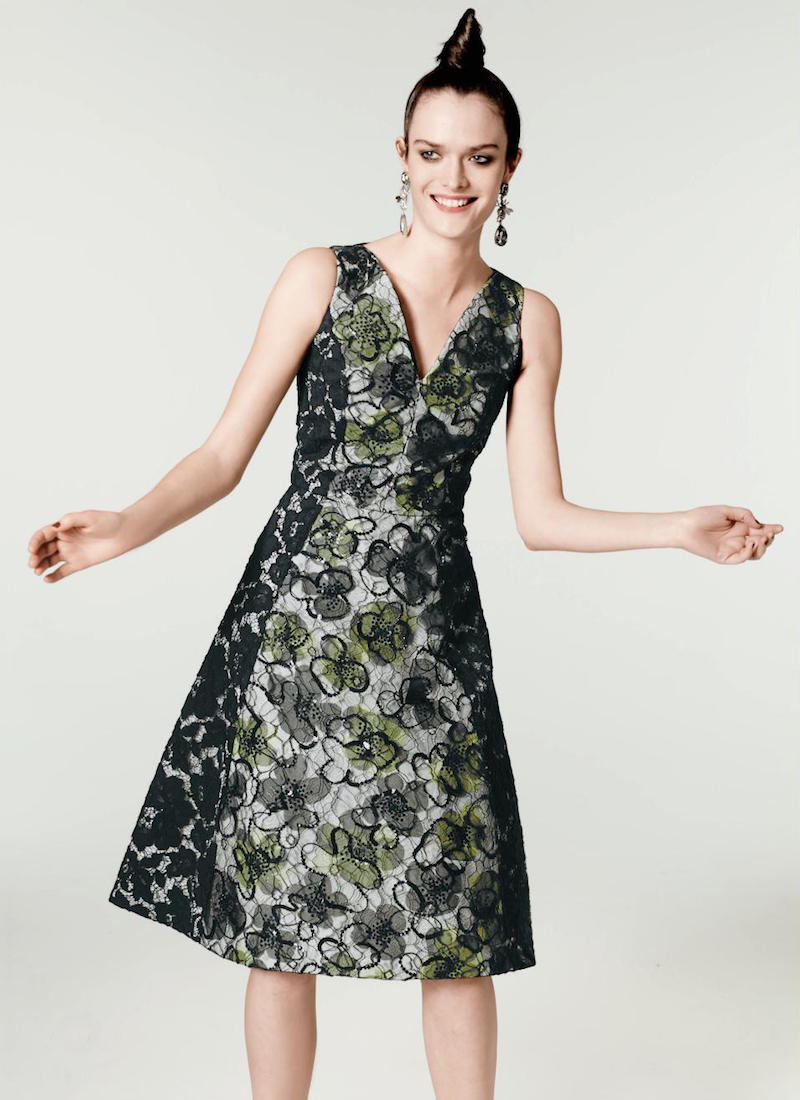 Oscar de la Renta Lace Cocktail Fit-And-Flare Dress