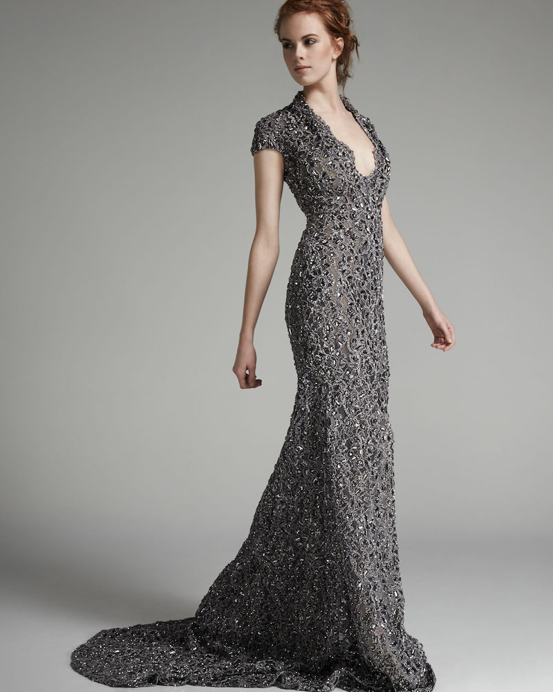 Pamella Roland Cap-Sleeve Re-Embroidered Lace Gown
