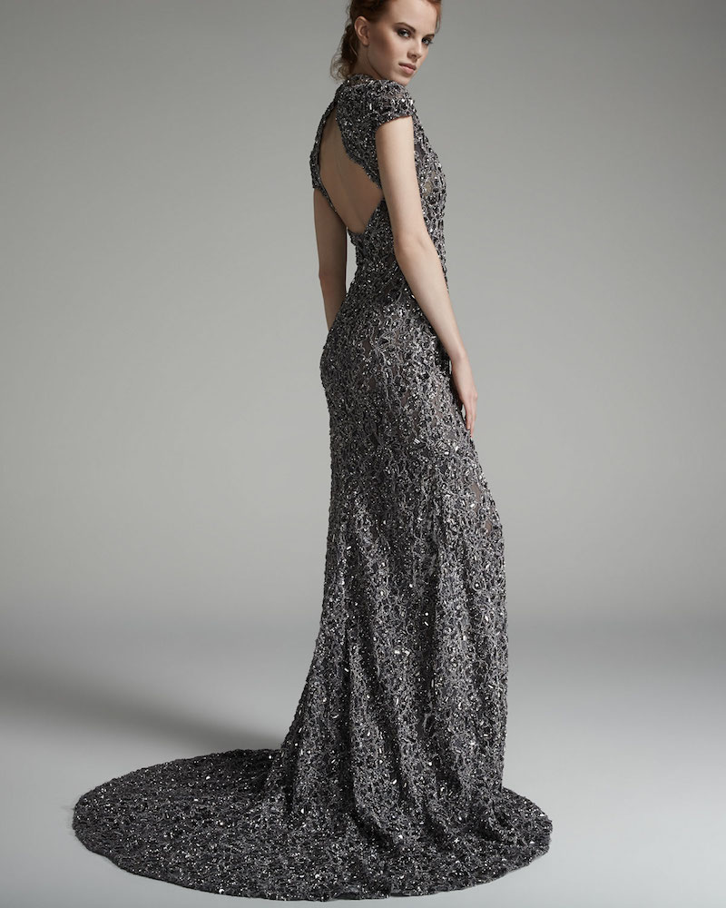 Pamella Roland Cap-Sleeve Re-Embroidered Lace Gown_1