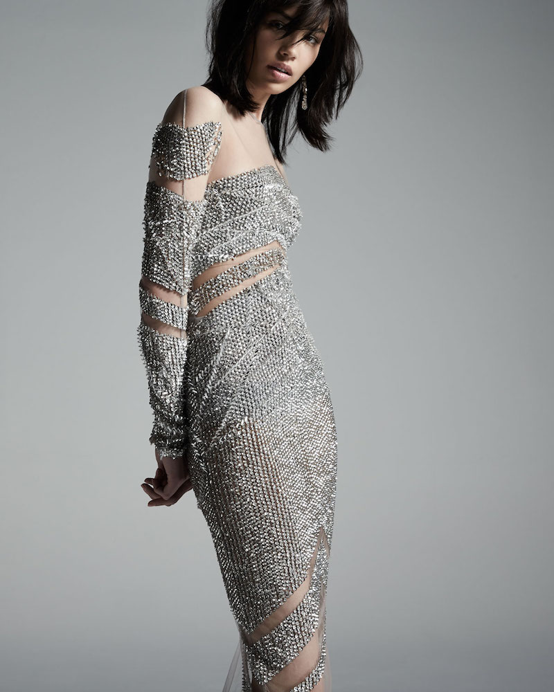 Pamella Roland Crystal Long-Sleeve Cocktail Dress