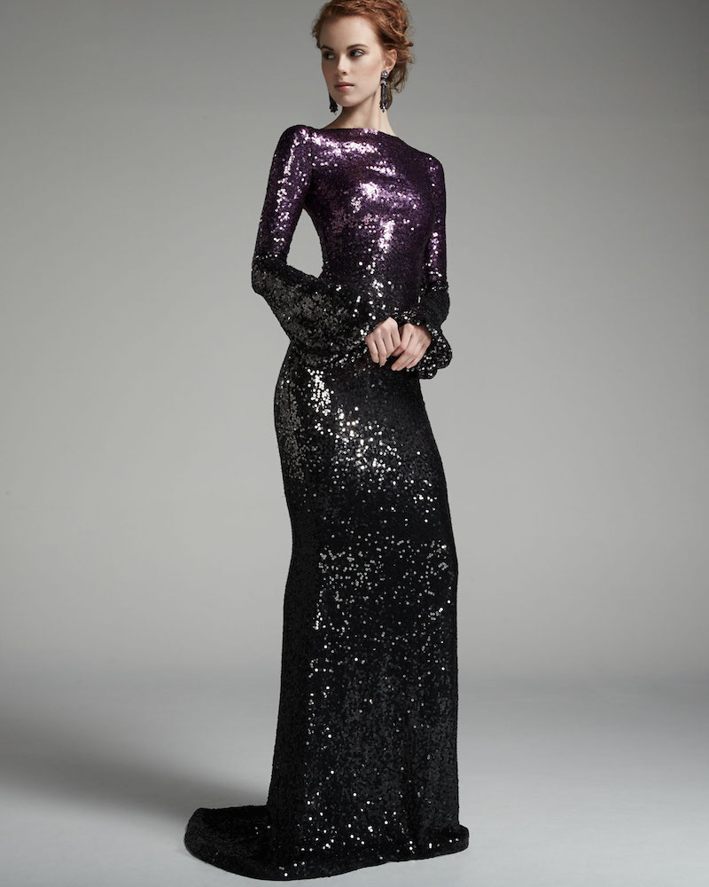 Pamella Roland Long-Sleeve Sequined Ombre Gown