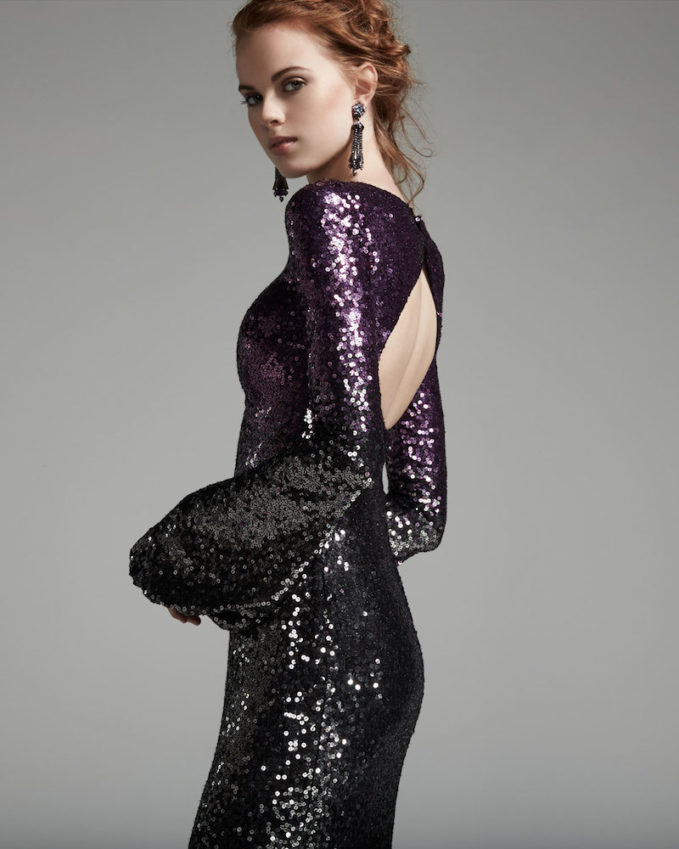 Pamella Roland Long-Sleeve Sequined Ombre Gown_1