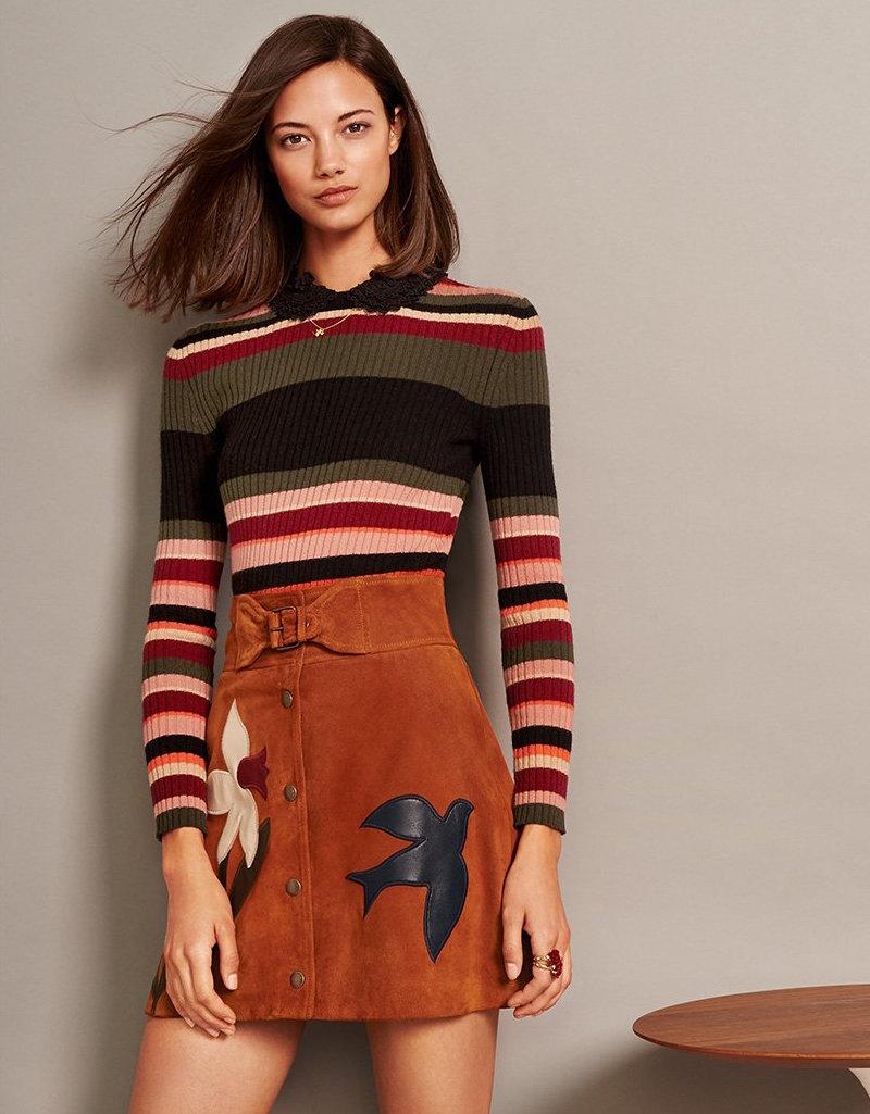 RED Valentino Sude Printed Skirt