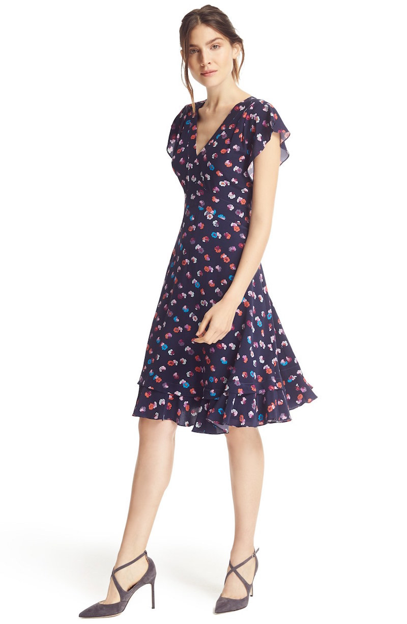Rebecca Taylor Sakura V-Neck Floral Silk Fit & Flare Dress