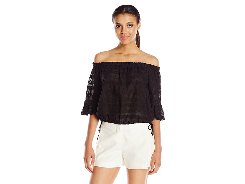 Rebecca Taylor Short Sleeve Embroidery Gauze Top