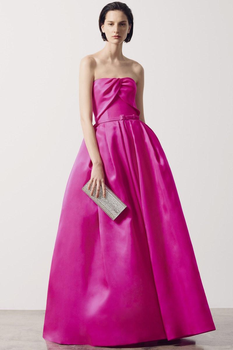 Reem Acra Belted Silk Gazar Strapless Ballgown