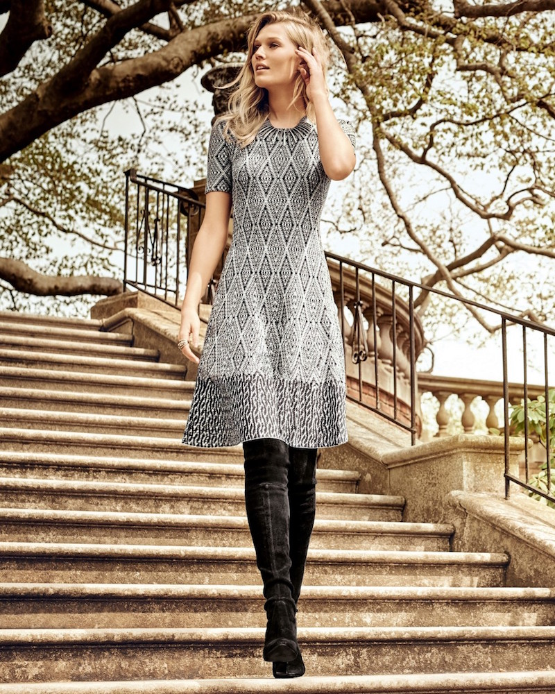 St. John Collection Diamond-Jacquard Fit&Flare Dress