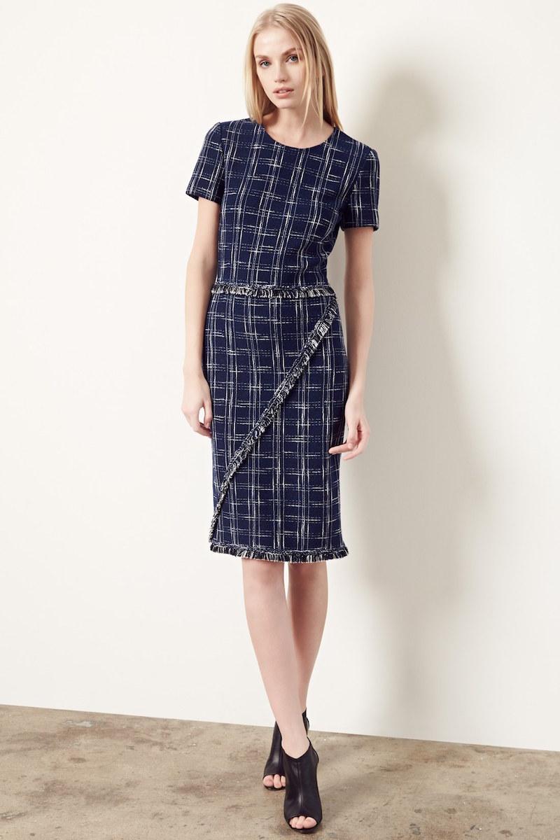 St. John Collection Fringe Trim Knit Sheath Dress