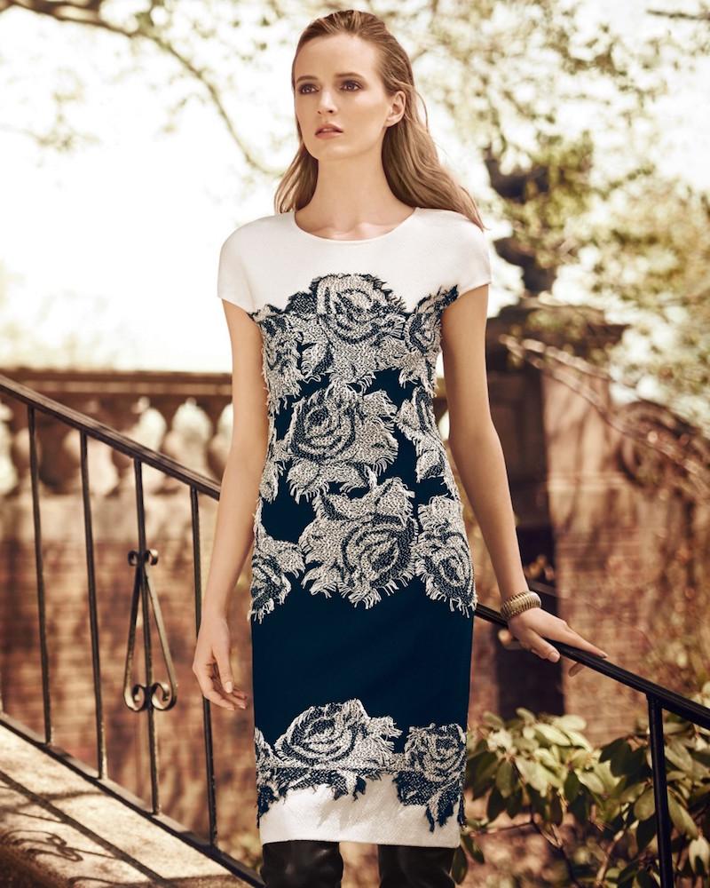 St. John Collection Nadia Floral Knit Cap-Sleeve Dress