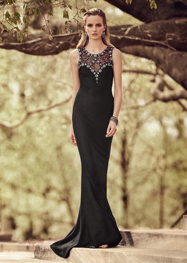 St. John Collection Zoya Beaded Lace V-Back Gown