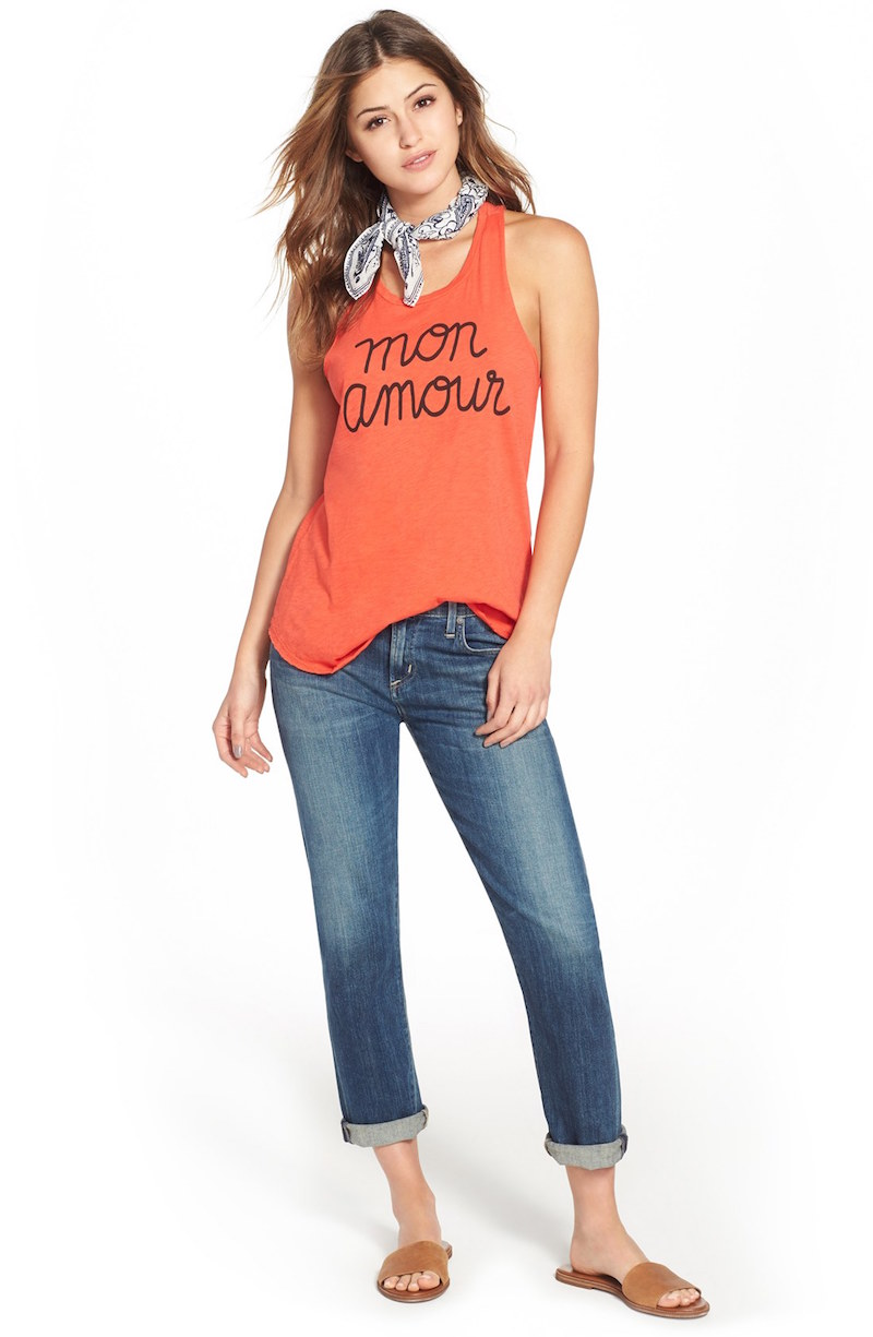 Sundry Mon Amour Graphic Racerback Tank