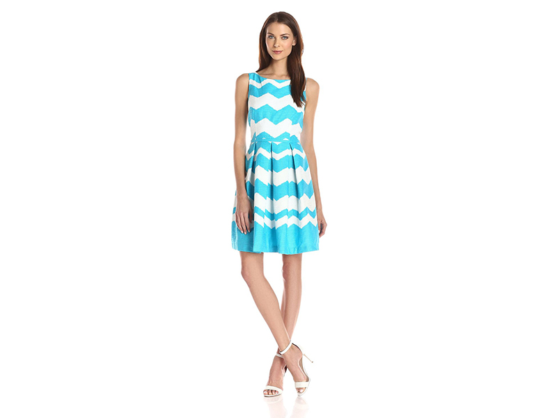 Taylor Dresses Zig-Zag Jacquard Fit-and-Flare Dress