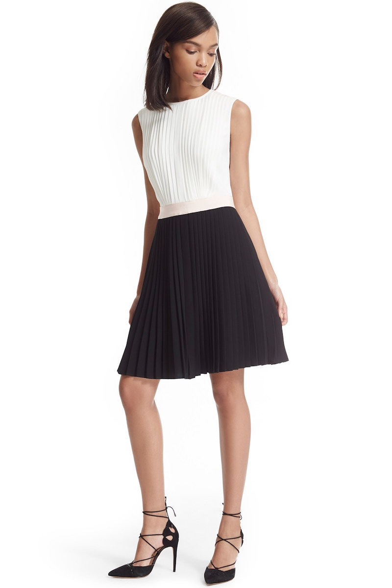 Ted Baker London Colorblock Pleat A-Line Dress