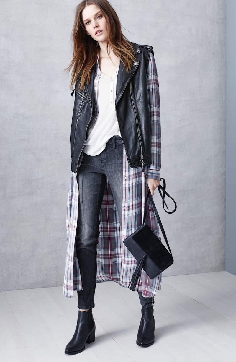 Treasure&Bond Drapey Plaid Maxi Tunic