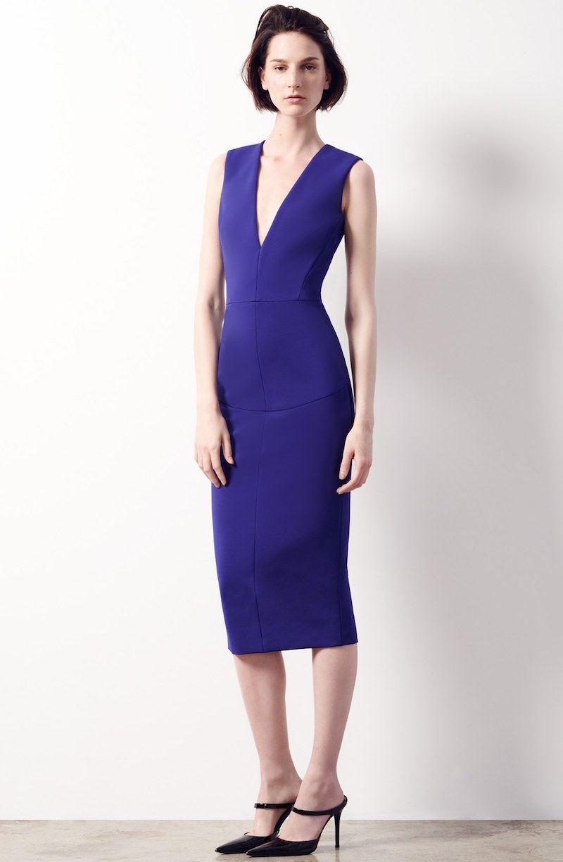 Victoria Beckham Plunging V-Neck Sheath Dress