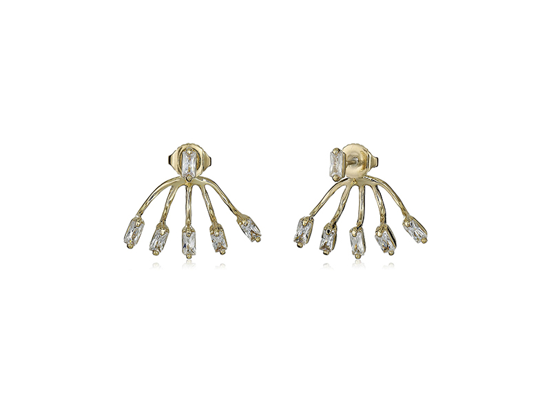 Vince Camuto Crystal Baguettes Front Back Stud Earrings
